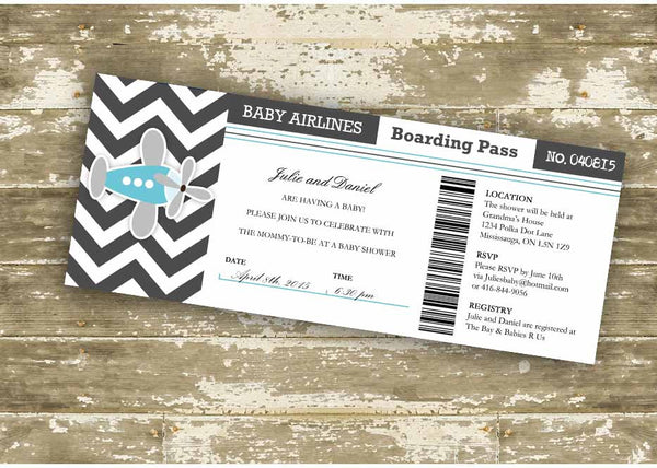 Baby Airlines Boarding Pass Baby Shower Invitation 0427