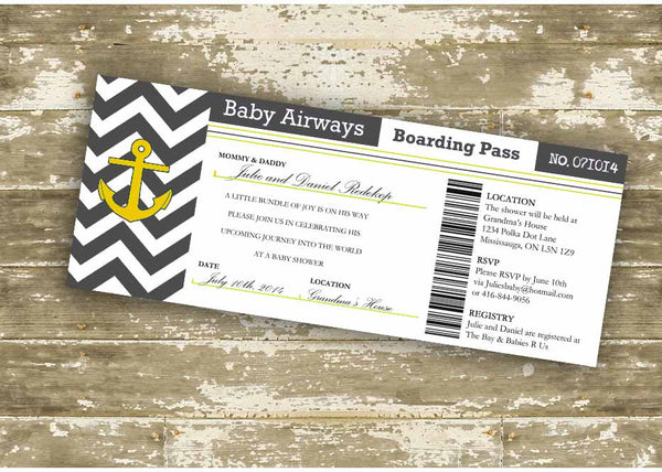 Nautical Themed Customizable Boarding Pass Invitation - Event type customizable! 0306