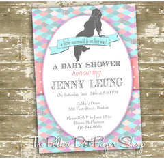 Beautiful Mermaid Baby Shower Invitation with Glitter Accents 0428