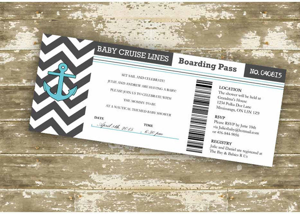 Baby Cruise Lines Boarding Pass Baby Shower Invitation 0426