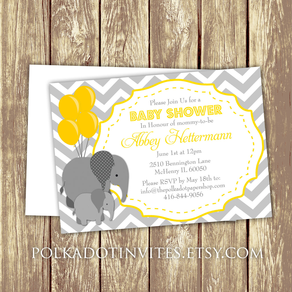 Baby Elephant Shower Or First Birthday Invitation 0430 The Polka Dot Paper Shop