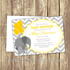 Baby Elephant Baby Shower or First Birthday Invitation 0430