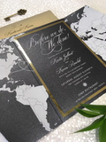 Travel Themed Black and Gold Foil Gatefold Wedding Invitation with Belly Band #586874