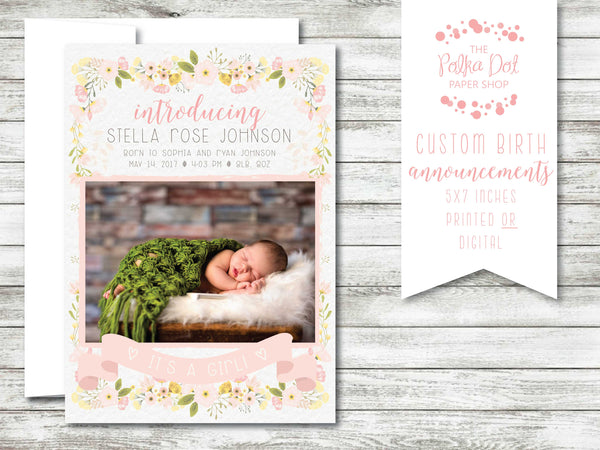 Garden Rose Photo Birth Announcement #584586