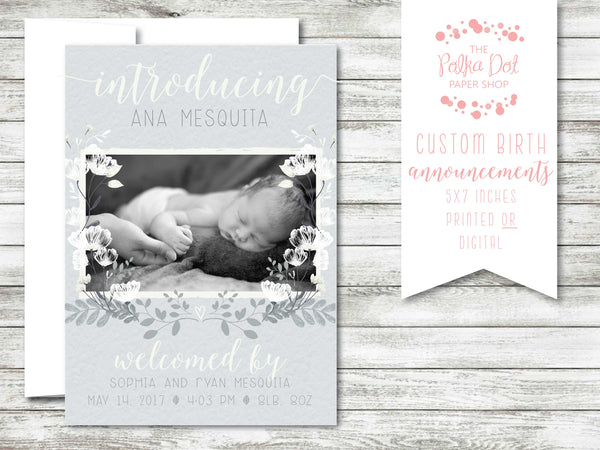 Delicate Greys Photo Birth Announcement #584587