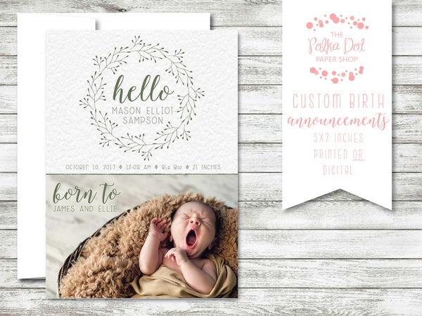 Simple Twigs Photo Birth Announcement #584588a