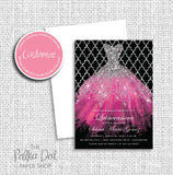Black and Pink Glitter Dress Quinceanera Birthday Party Invitation 54902