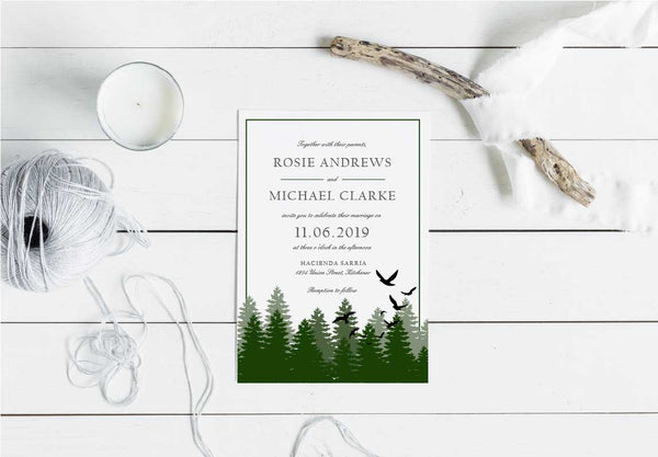 Blackbird Forest Wedding Invitation 41547