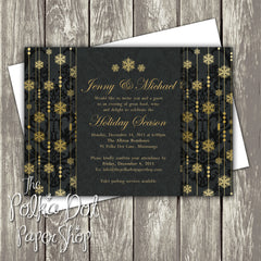 Regal Gold Snowflake Holiday Party Invitation 0464