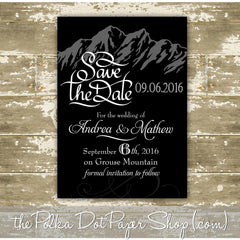 Beautiful Modern Mountain Themed Save the Date Card  -  Colour Customizable! 0316