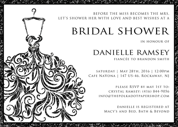 Glitter Black Wedding Dress Bridal Shower Invitation 0255