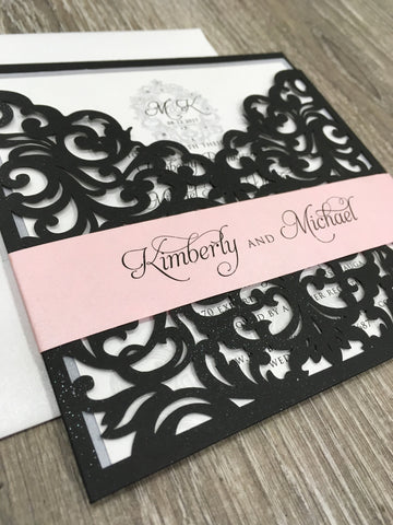 Elegant Monogram Bellyband Laser Cut Pocket Wedding Invitation 1659