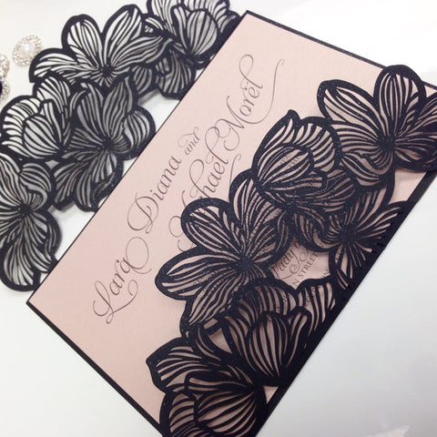 Black Flower Laser Cut Wedding Invitation 0100