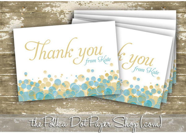 Pack of 10 Customized Champagne Bubbly Thank You Cards 0336