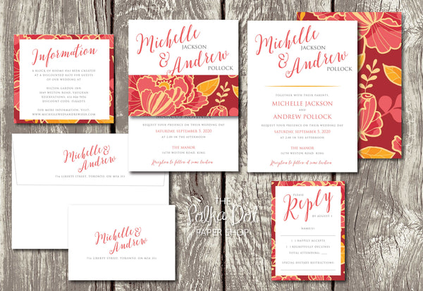 Boho Peonies - Floral Belly Band Printed Wedding Invitation 10241