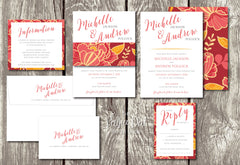 NEW 2018 - Boho Peonies - Floral Belly Band Printed Wedding Invitation 10241