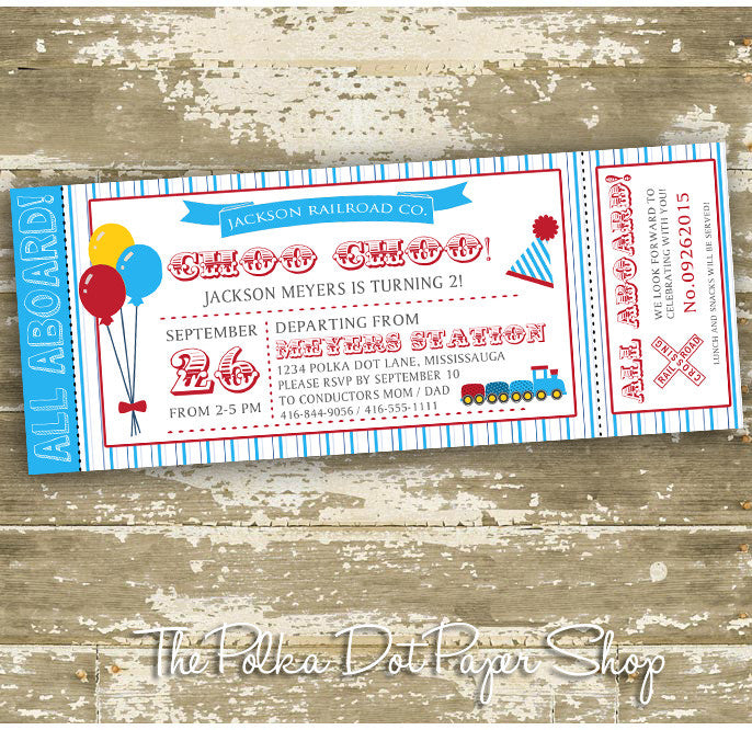 Train Ticket Themed Birthday Invitation 0451 The Polka Dot Paper Shop
