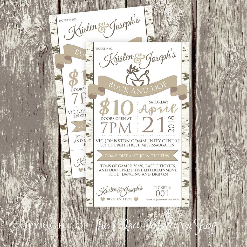 Woodland Themed Stag Doe Jack Jill Ticket 3694