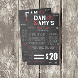 Chalkboard Rustic Themed Stag & Doe / Jack & Jill Ticket 3696