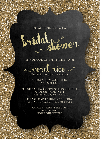 Glitter Chalkboard Bridal Shower Invitation 0248