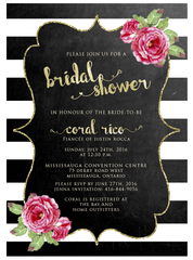 Glitter Chalkboard Bridal Shower Invitation 0244