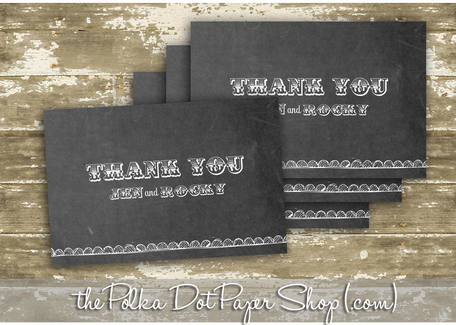 pack of 10 customized chalkboard thank you cards 0335 the polka