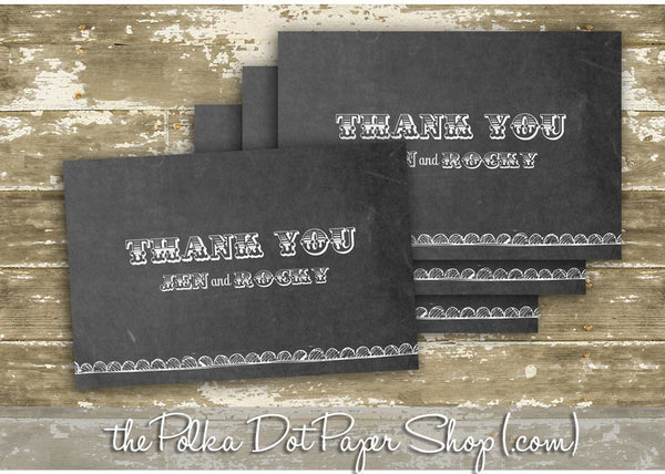 Pack of 10 Customized Chalkboard Thank You Cards 0335