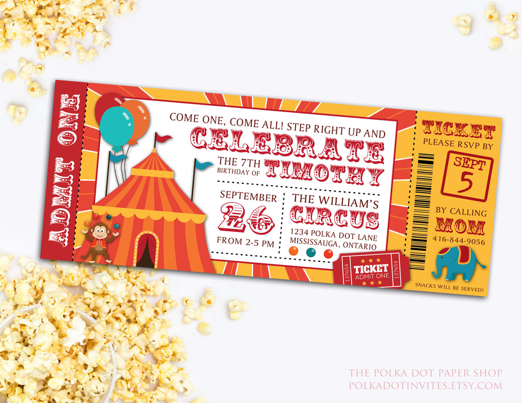Circus Ticket Birthday Party Invitation Baby Shower Invitation