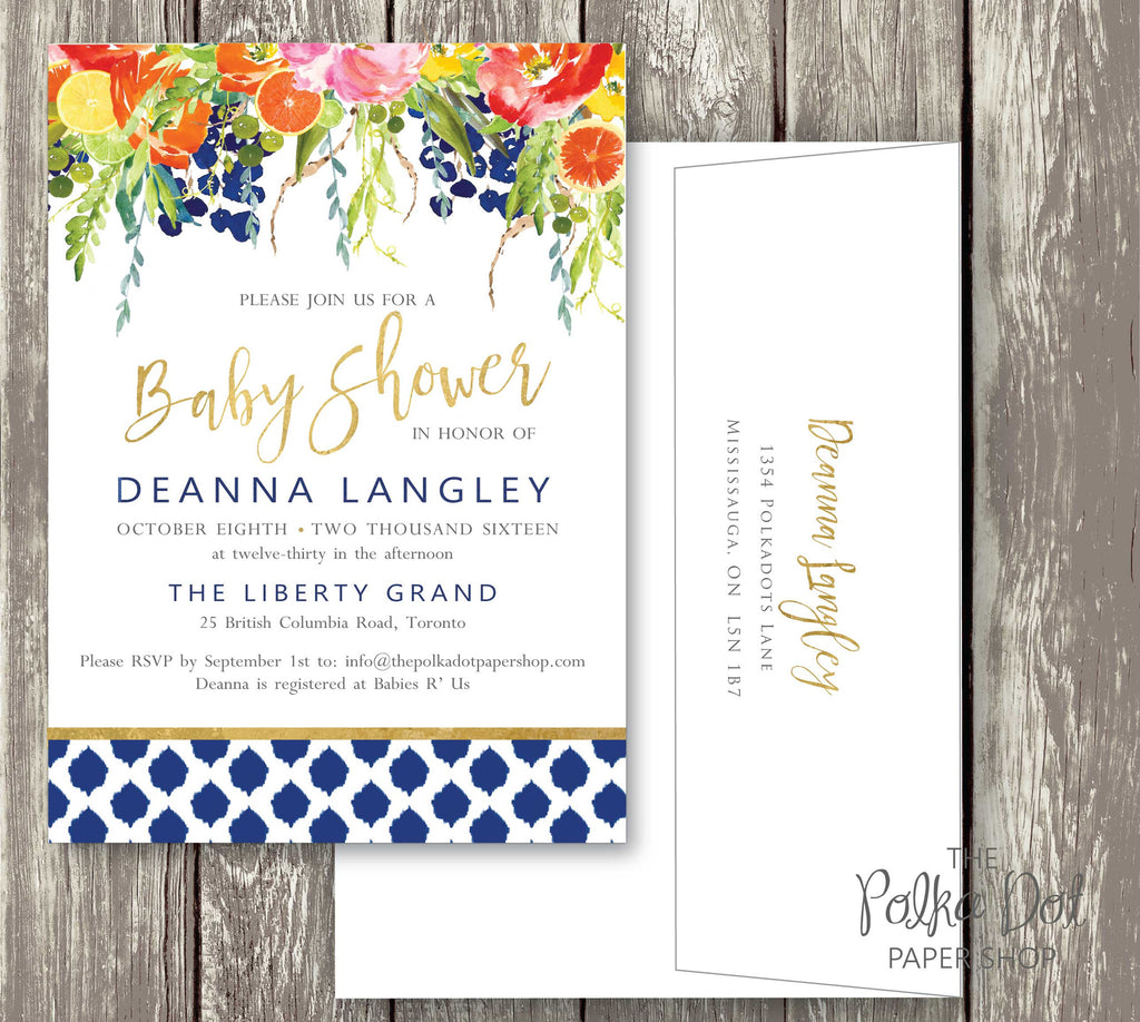 Bright Flower Watercolor Baby Shower or Bridal Shower Invitation ...