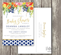 Bright Flower Watercolor Baby Shower or Bridal Shower Invitation with Citrus Accents 0286