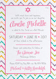 Colourful Chevrons Bat Mitzvah Invitation 0435
