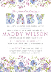 Cornflower / Wildflower Baby Shower Invitation 0418