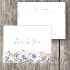 Pack of 10 Watercolour Cornflower Thank you Cards with Envelopes 0344