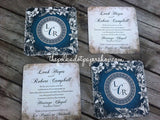 French Vintage Inspired Double Sided Wedding Invitation 0170