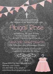 Cute Chalkboard Look Birthday Party, Baby Shower or Baptism Invitation 0421