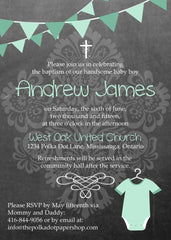 Cute Chalkboard Look Baptism Invitation 0420
