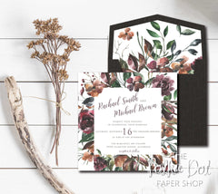 NEW 2019! Moody Fall Florals Wedding Invitation 54755