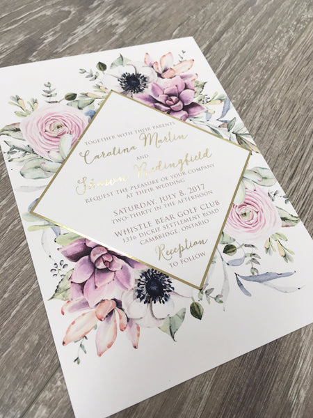 Floral Diamond (Gold Foil optional) Wedding, Bridal Shower or Party Printed Invitation Suite 0505