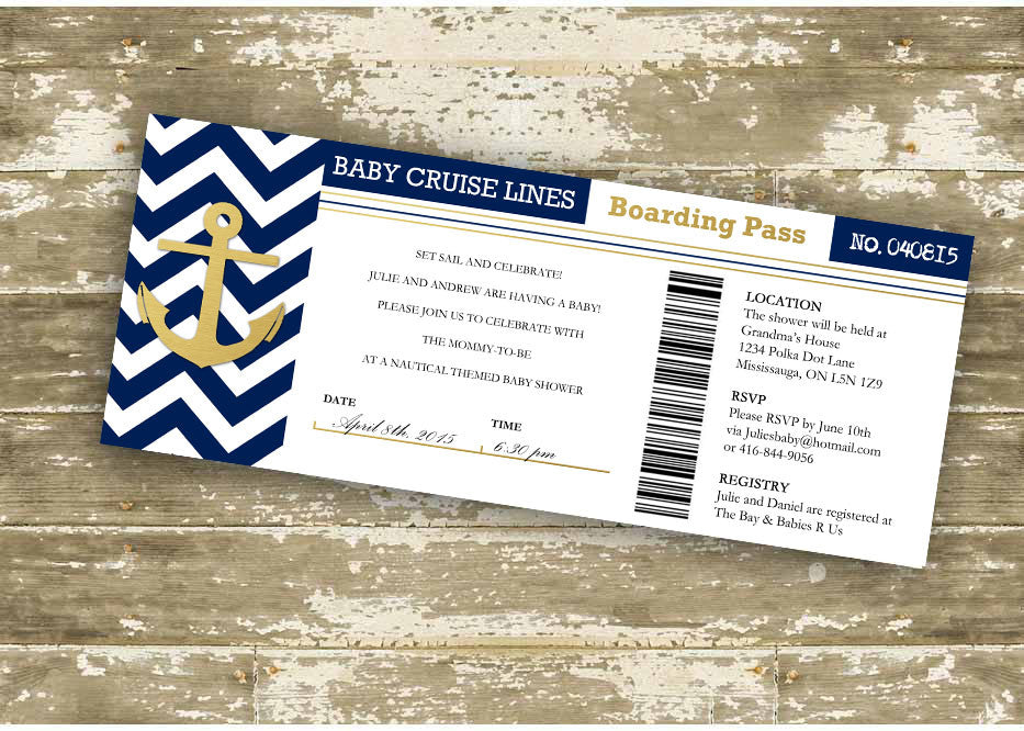 faux foil baby cruise lines boarding pass baby shower invitation