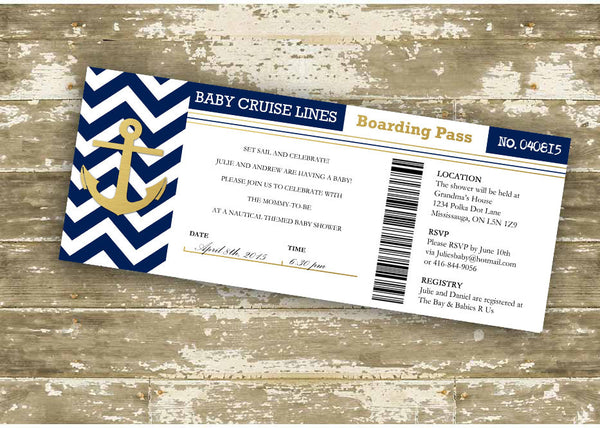 Faux Foil Baby Cruise Lines Boarding Pass Baby Shower Invitation 0425