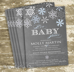 Chalkboard Style Winter Wonderland Baby Shower, Baptism or First Birthday Invitation 0432