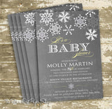 Chalkboard Style Winter Wonderland Baby Shower Invitation 0432