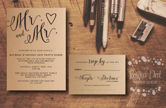 Rustic Kraft Mr. & Mr. (or Mrs.!) Wedding Invitation - Printed Invitation 0202