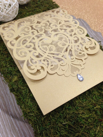 Elegant Gold Pocket Fold Laser Cut Wedding Invitation #0102