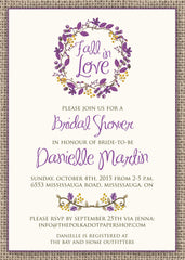 Fall in Love Bridal Shower Invitation 0284