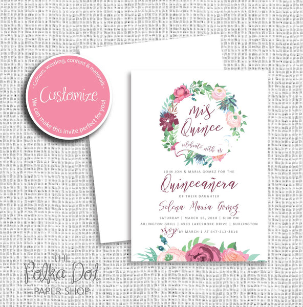 Fiesta Flowers Quinceanera Birthday Party Invitation 54905