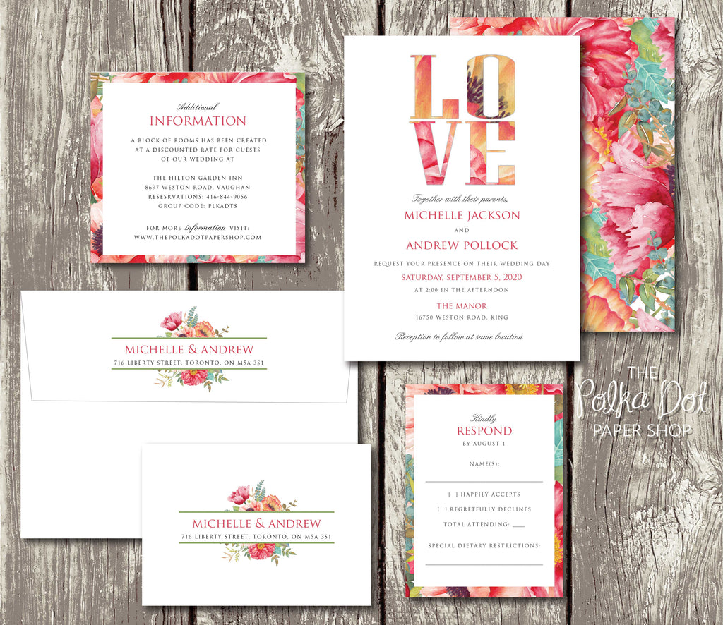 For The Love Of Flowers Double Sided Wedding Invitation 10234 The