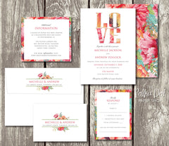 NEW 2018 - For the Love of Flowers - Floral Printed Wedding Invitation 10234