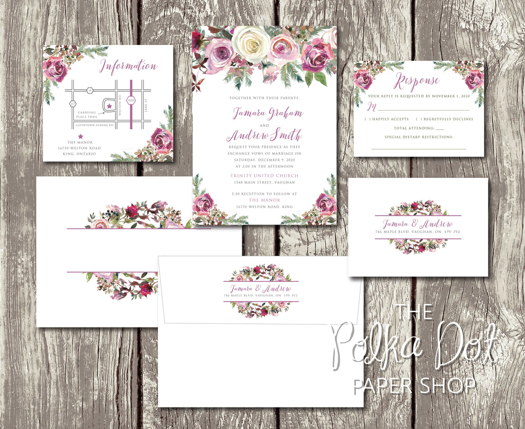 Frosty Roses Floral Printed Winter Wedding Invitation 10246 – The ...