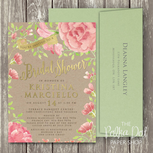 Garden Peony Rustic Bridal Shower, Birthday Party or Engagement Party Invitation 0288